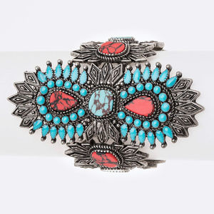 Turquoise & Coral Stone Stretch Cuff Bracelet